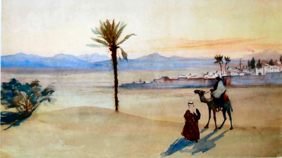 Desert at dusk by Lady Caroline Gray Hill 1843-1924