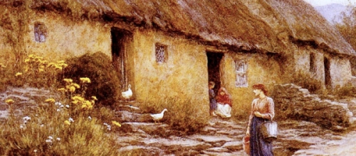 An Irish Cottage - Helen Allingham - 1840-1926