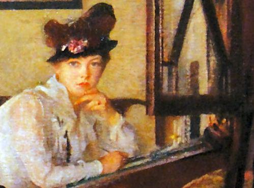 detail - girl writing by daniel garber 1917