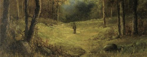 man strolling in a wooded landscape - detail - A A Mills