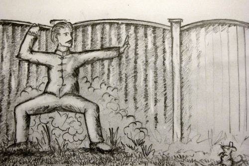 man in garden doing qigong with mouse